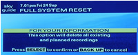 Re-setting your Sky Plus System