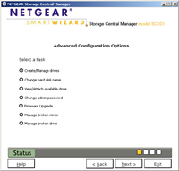 Picture of the Netgear SC101 Storage Central Setup software